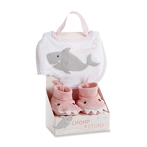 Baby Aspen Chomp and Stomp Shark Bib and Booties Gift Set, Pink