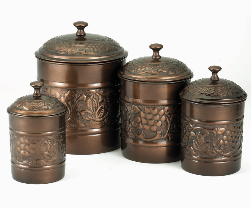 Old Dutch International Antique Embossed Canisters Set of 4