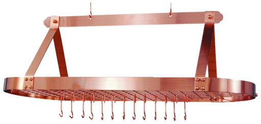 48 x 19 x 15 Oval Satin Copper Pot Rack24 Hooks RTA