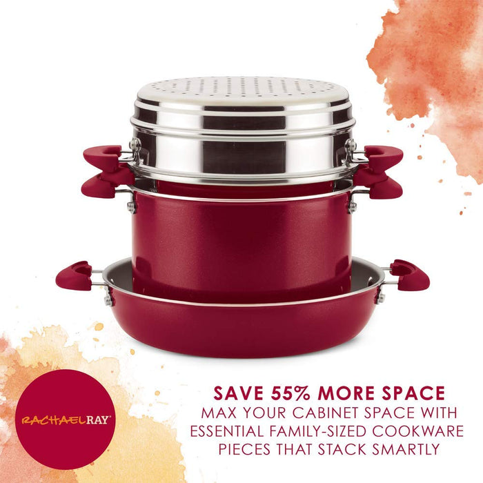 Rachael Ray 8pc stacking set, red shimmer