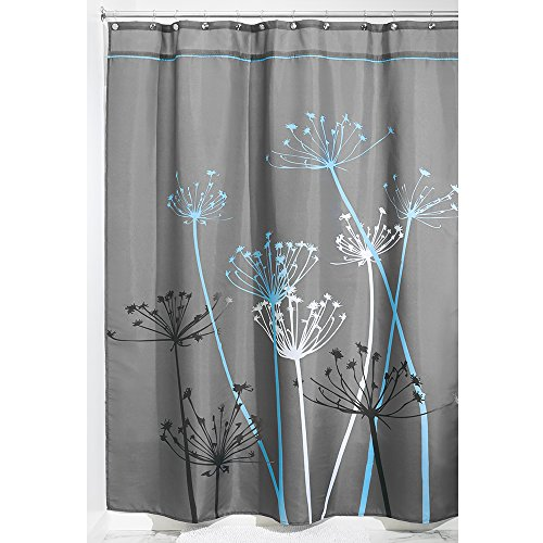InterDesign Thistle Fabric Shower Curtain, Long, 72 x 84-Inch, Gray/Blue