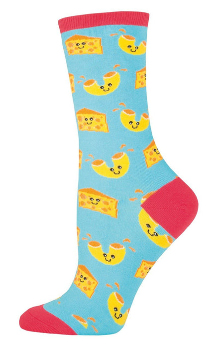 "Socksmith Womens Novelty Crew Socks ""Mac n Cheese"" ,  Bright Blue"