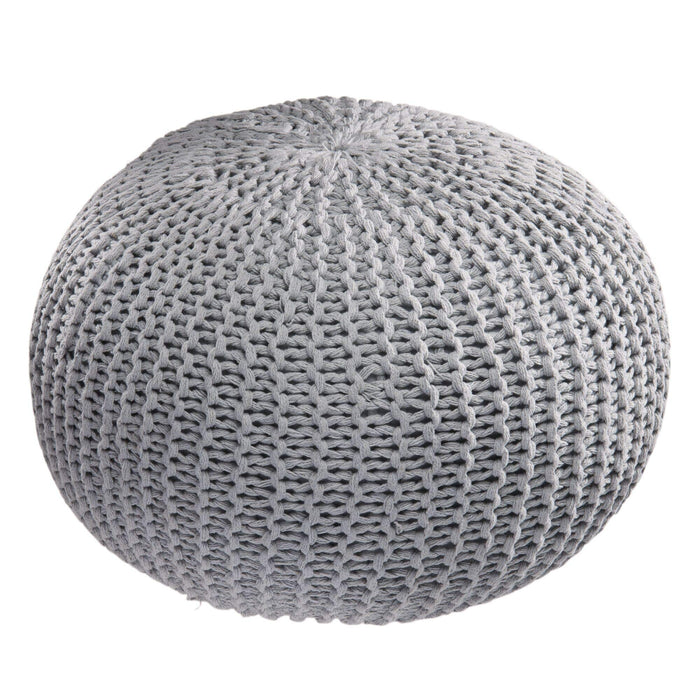 iDesign Cotton Knitted Cable Style Pouf Foot Rest, Floor Ottoman, Bean Bag Chair - Gray