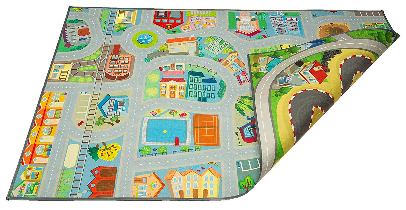 "Kids Double Sided Felt Play Mat - 2 in 1 Racetrack Speedway & Town, Indoor/Outdoor, Machine Washable 59"" L x 39"" W"
