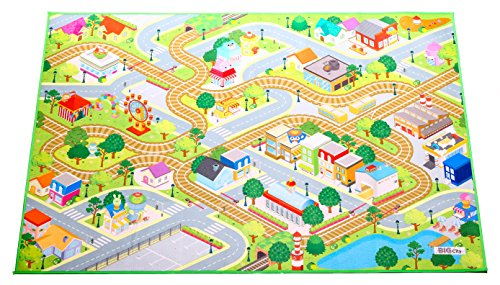 Kids Felt Play Mat with non-slip, grip backing - City