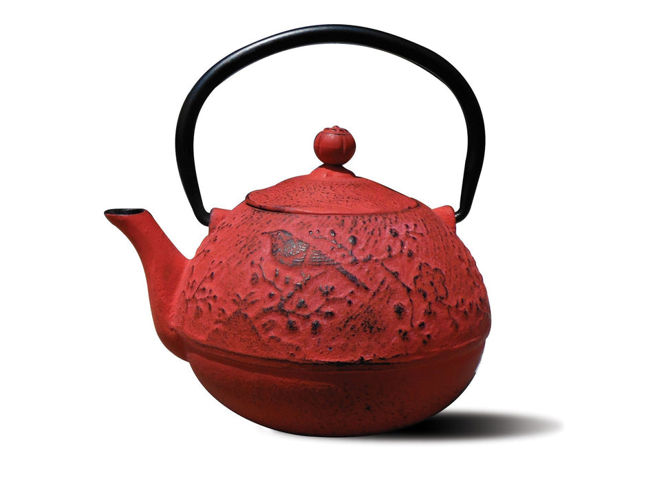 "Red Cast Iron ""Suzume"" Teapot, 24 Oz."