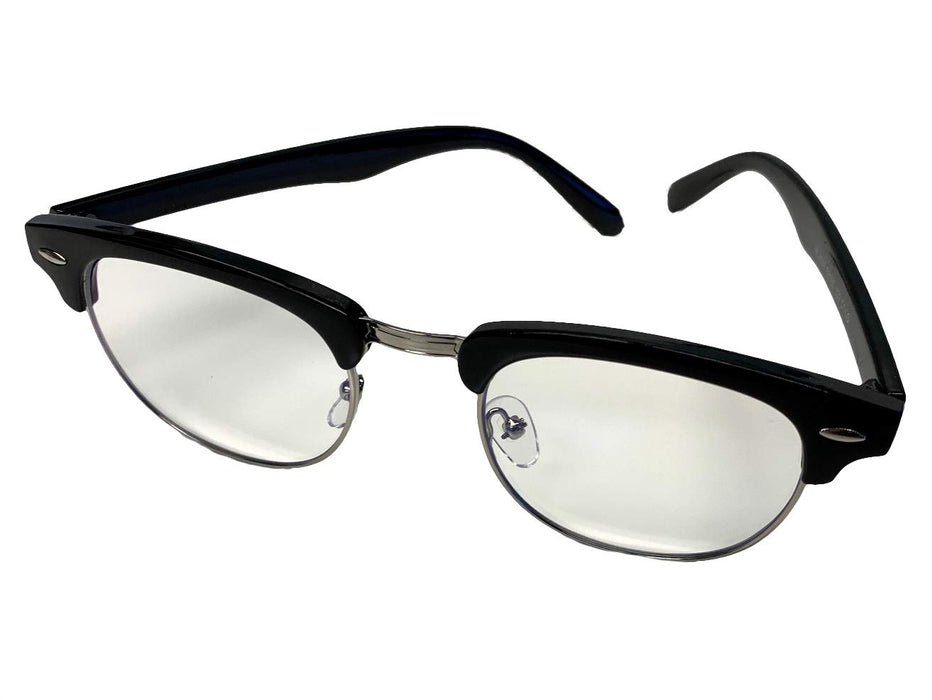 Blue Light Blocking Clear Glasses - Black Retro Frame - Unisex w/Pouch