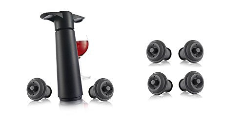 Vacu Vin Vaccuum Wine Saver Gift Set, 6 Black Stoppers
