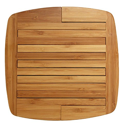 "Totally Bamboo Expandable Trivet, Durable and Beautiful Bamboo Protects Tabletops and Counters in Style, 11 3/4"" by 8 3/4"" open, 8 3/4"" by 8 3/4"" closed"
