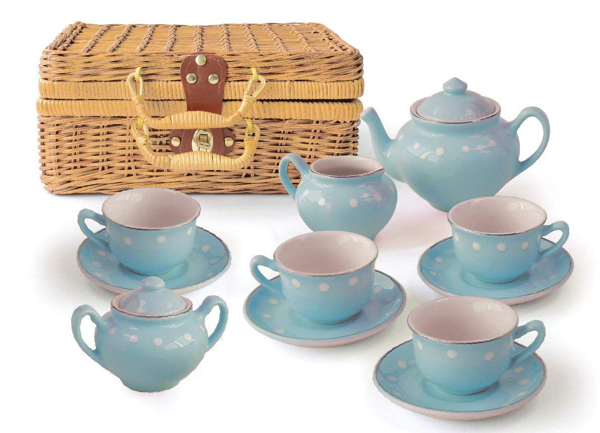 Children's 13 Piece Blue Porcelain Play Tea Set with Wicker Basket
