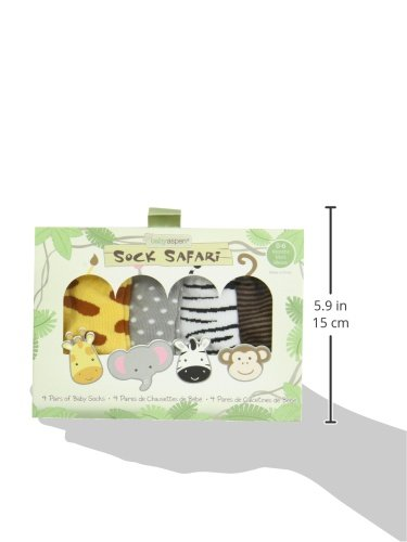 babyaspen 4-Pair Animal Themed Sock Set 0-6 months Sock Safari