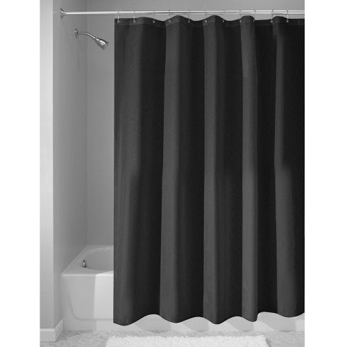 InterDesign Mildew-Free Water-Repellent Fabric Shower Curtain, Long, 72-Inch by 84-Inch, Black