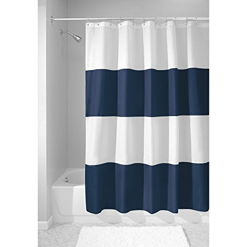 "InterDesign Mildew-Free Water-Repellent Zeno Shower Curtain, 72 by 72"", Navy/White"