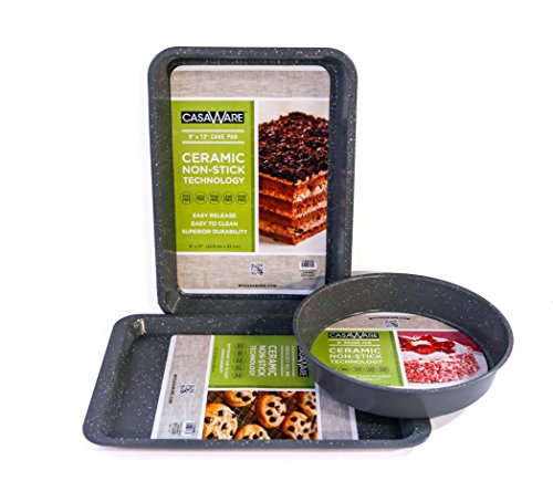 118698 Silver Bakeware Set 3pc Silver Granite