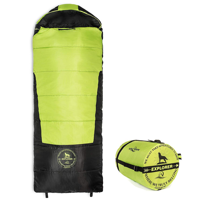 Lucky Bums Youth Explorer 30F/-1C Temperature Rated Envelope Style Sleeping Bag, Compressing Carry Bag Included