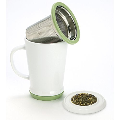 120679 W/Green 14oz Tea Infuser Mug White/Green