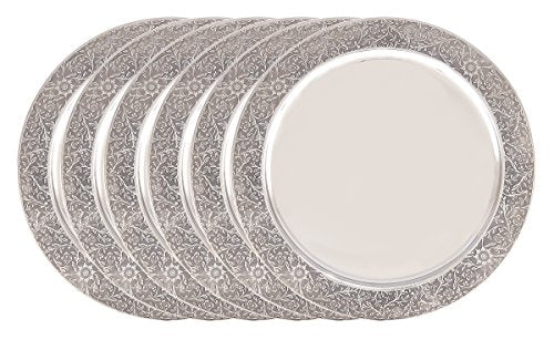 "13"" S/S Etched Rim Charger Plate, Set of 6"