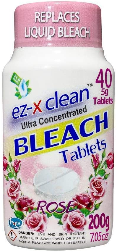 Water soluble bleach tablets for laundry and household cleaning / ROSE- Single 7.05 oz