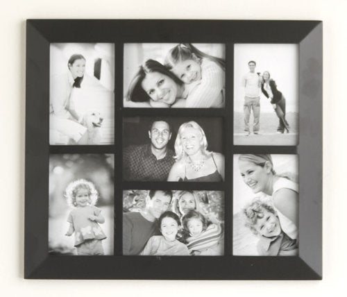 Malden 2012-70 Berkeley 4 by 6 Beveled Wood Edge 7 Opening Collage Frames, Black