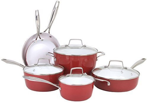 Oneida 10pc Forged Aluminum PFOE/PTFE Free Non-stick Ceramic Induction Ready Cookware Set. Dishwasher Safe.