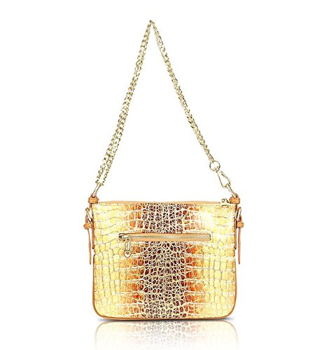 Bobby Schandra, DESIGNER LEATHER MESSENGER HANDBAG: HONEY GOLD CROCODILE PRINT