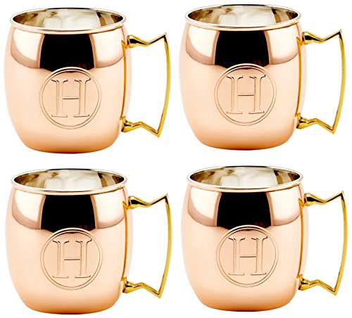 Solid Moscow Mule Mug, 16-Ounce, Monogrammed H, Copper, Set of 4