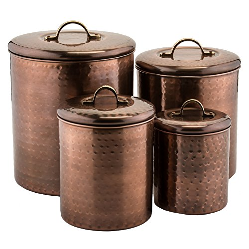 4 Pc. Hammered Antique Copper Canister 4Qt., 2Qt., 1Qt.,1Qt.