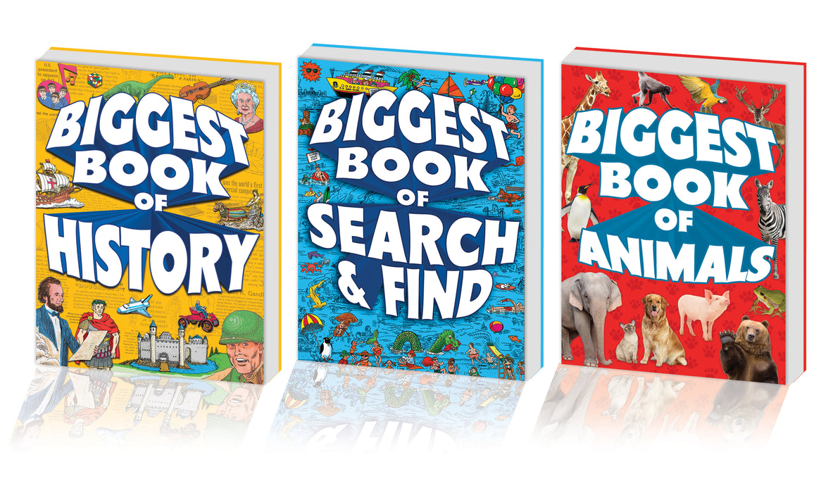 Kidsbooks Biggest Book of 3 Book Bundle, Includes Biggest Book of Search & Find, Biggest Book of Animals, Biggest Book of History (320 pages)
