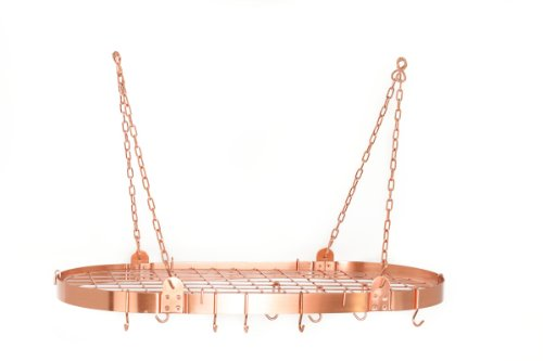 "36"" x 18"" Satin Copper Oval Pot Rack w/12 Hooks"