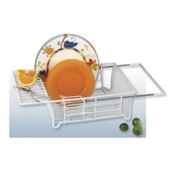 Adjustable Over Sink Dish Drainer (White)