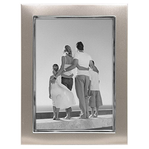 Malden International Designs Uptown Matte Silver with Silver Fashion Metal Frame, 5x7, Silver