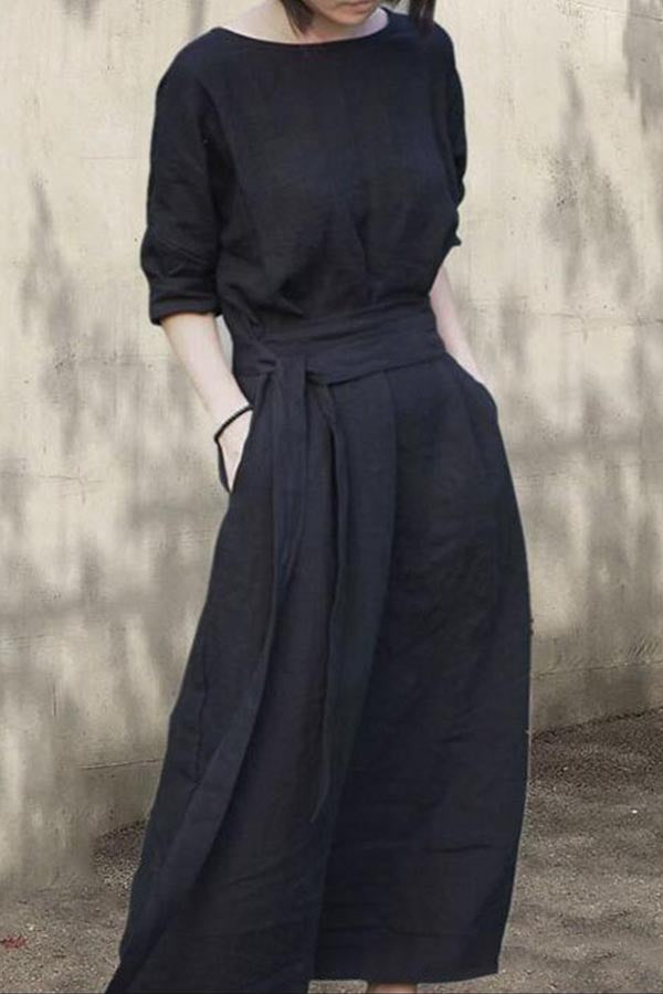 Paneled Solid Self-tie Backless Casual Maxi Dress