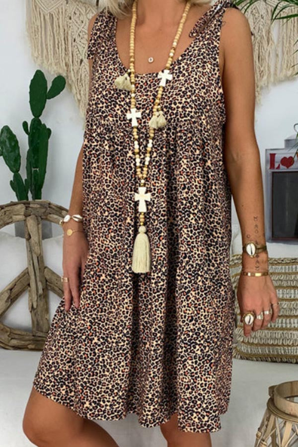 Leopard Print Bow Sleeveless Holiday Midi Dress