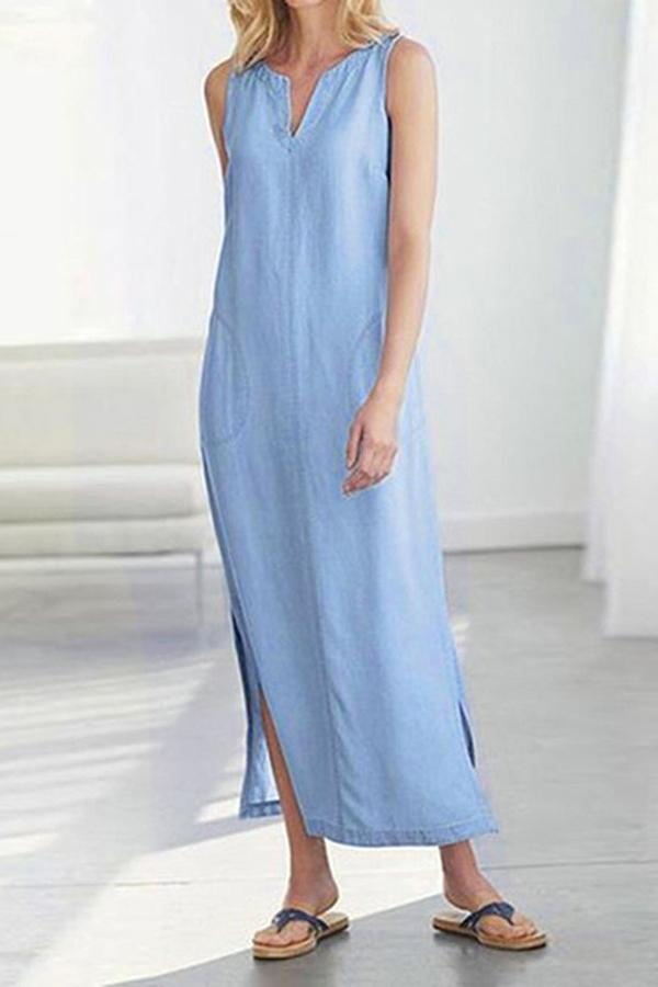 Casual Solid Sleeveless Slit Maxi Dress