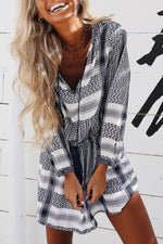 Boho Print Paneled V-neck Drawstring Mini Dress