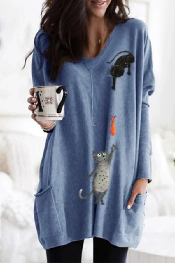 Cat Print V-neck Side Pockets Casual T-shirt