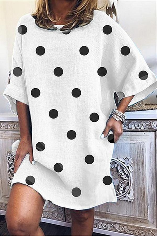 Polka Dots Print Half Sleeves Casual Mini Dress