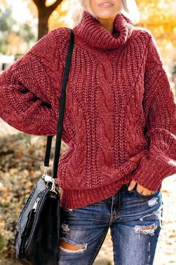 Solid Ribbed Turtleneck Casual Knitted Sweater