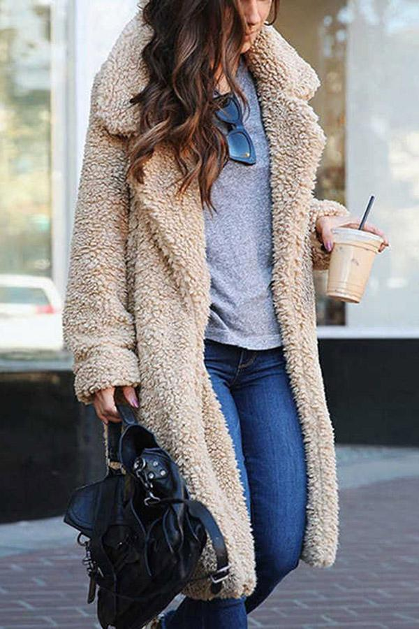 Lapel Collar Open Front Fluffy Coat
