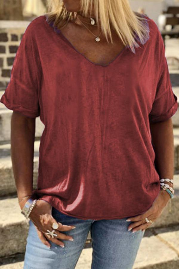 Casual Solid V-neck Short Sleeves T-shirt