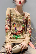 Bronzing Floral Print Long Sleeves Casual T-shirt