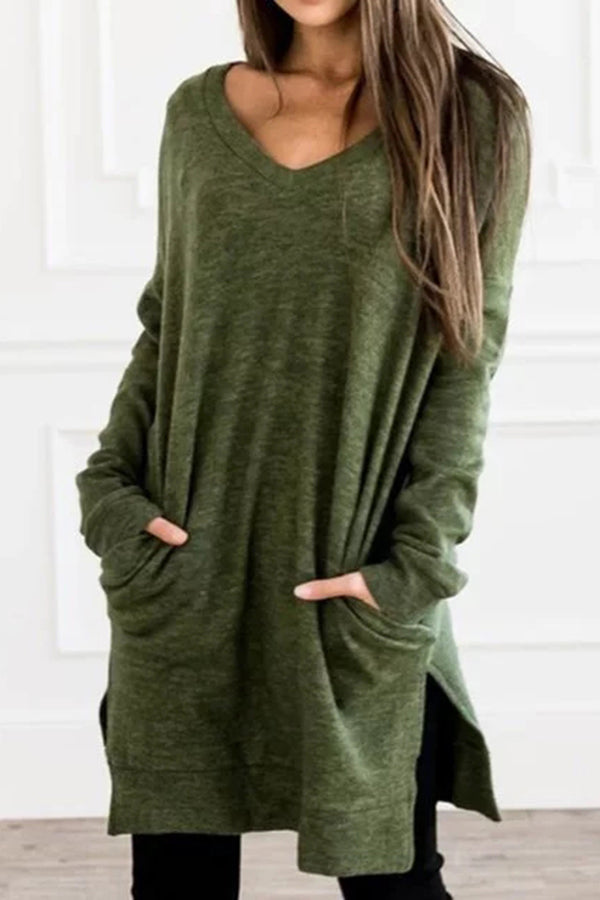 Casual Paneled V-neck Pockets Solid Slit Blouse