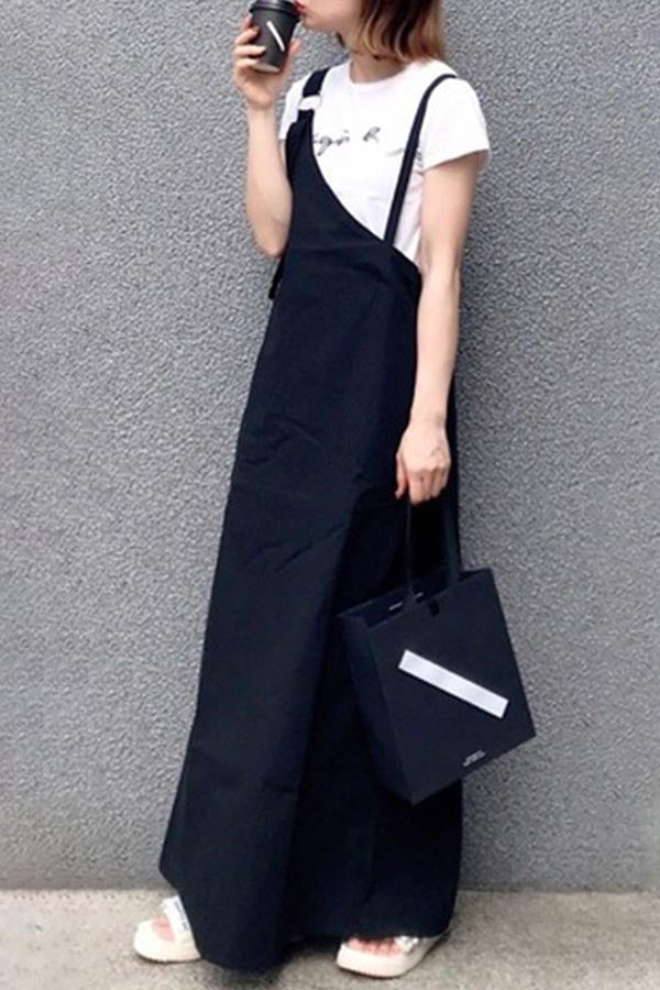 Solid Asymmetric Buckle Casual Slit Maxi Dress