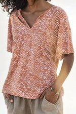 V-neck Print Casual Short Sleeves T-shirt