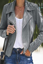 Paneled Solid Zipper Pockets Lapel Cropped Jacket