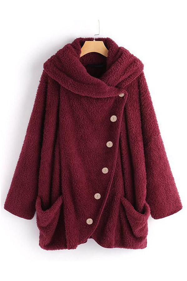 Warm Pockets Buttoned Fluffy Coat