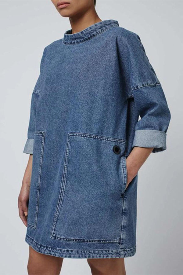Casual Paneled Side Pockets Jean Mini Dress