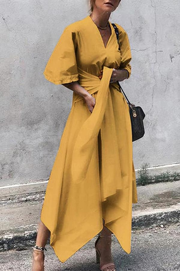 Elegant Solid Drawstring Irregular Hem Maxi Dress