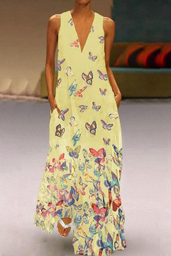 Butterfly Print V Neck Sleeveless Maxi Dress