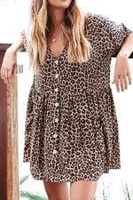 Leopard Print Buttons Down Elegant Mini Dress